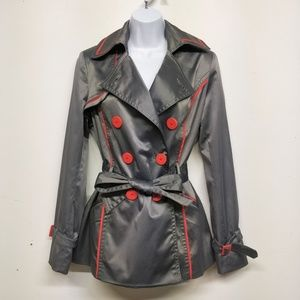 Jessica Simpson Metallic Gray/Red Short Trench M